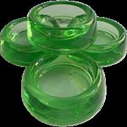 SOLD Depression Era Glass Furniture Coasters Vintage Green Hazel Atlas Set