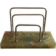 Art Deco Onyx Green Letter Rack Chromed Nickel Vintage Desk Accessory