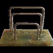 Art Deco Onyx Green Letter Rack Chromed Nickel Vintage Desk Accessory