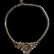 Crown Trifari Necklace Vintage Teardrop Rhinestones Snake Chain TLC
