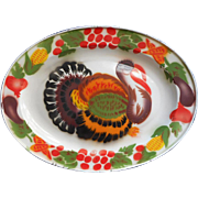 Enamel Turkey Platter Vintage Bright Colorful Decorative