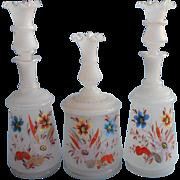 Victorian Bristol Glass Cologne Bottle Powder Box Set Antique Hand Blown Decorated