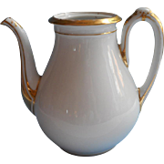 Haviland Limoges Antique Victorian Tea Coffee Pot White Gold No Lid