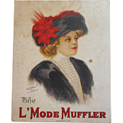 Antique Box Paper 1910 Lithographed Lichtman Advertising Pretty Woman Muffler