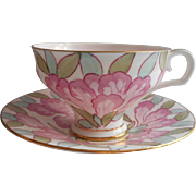 Royal Doulton Hand Painted Cup Saucer Vintage 1932 Pink Aqua Green