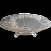 Fostoria Oak Leaf Brocade Console Bowl Vintage Etched Glass Acorns