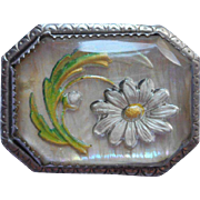 1910s to 1920s Reverse Painted Intaglio Glass Pin Daisy