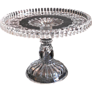 1870s Cake Pedestal Stand Antique EAPG Glass Cottage Fine Cut Band