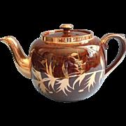 Gibson Tortoise Glaze Gold Teapot Vintage Brown English China