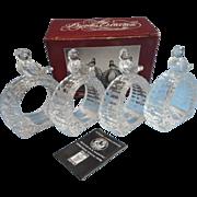Hofbauer Byrde Crystal Napkin Rings Vintage Set 4 Bird Birds Original Box