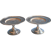 Gorham Pair Reticulated Silver Pedestal Compotes Antique Monogram A H J