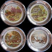Porcelain Silver Coasters Wine Currier Ives Four Seasons Vintage Set 4