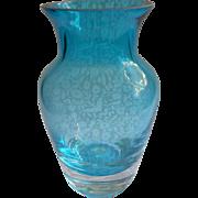 Teal Blue Art Glass Vase Small Simple Vintage
