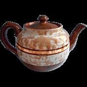 English Teapot Brown Mottled Glaze Blue Splatter Bands Vintage