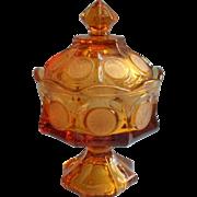 Fostoria Amber Coin Pedestal Candy Dish w Lid Vintage
