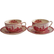 Pink Old Britain Castles Johnson Brothers England 2 Cups Saucers Vintage