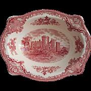 Pink Old Britain Castles Johnson Brothers England Serving Bowl Vintage