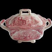 Pink Old Britain Castles Johnson Brothers England Sugar Bowl Vintage