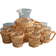 Libbey Wicker Glass Sangria Set Vintage Cups Pitcher Fruit Dish