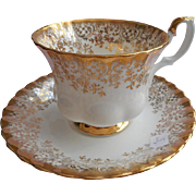 Royal Albert Gold Lace On White Cup Saucer Vintage Bine China English