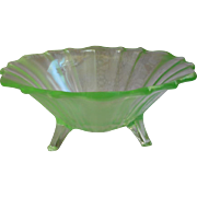 Fenton Florentine Green Stretch Glass 3 Toe Candy Dish Bowl