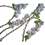 Glass and Plastic Beads Vintage Long Necklace Flowers Leaves