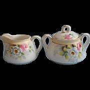 Nippon Creamer Sugar Bowl Vintage 1920s Hand Painted Shabby Charm