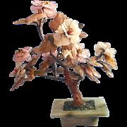 Soapstone Jade Rose Quartz Carnelian Peony Tree Sculpture Vintage Chinese