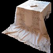 Tablecloth Set Lavish Cutwork Embroidery Vintage 1920s Napkins
