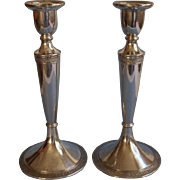ca 1920 Candlesticks Silver Vintage Tall Handsome Shabby Elegant