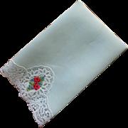 Guest Towel Vintage Lace Petit Point Embroidery Mint Green Linen