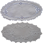 SOLD Bread Tray Doilies Doily Vintage Linen Hand Embroidery Cutwork 1 TLC