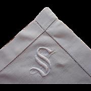 Monogram S Antique Tray Cloth 1910s Simple White Cotton