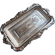 Silver Glass Butter Relish Dish Vintage 1960s Holiday Table