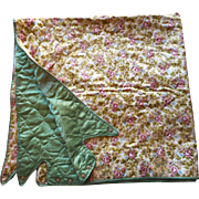 1930s Quilted Satin Card Table Cover Pink Green Floral Adjustable TLC