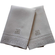 1920s Towels Monogram J M R Vintage Linen Italian Hand Embroidery