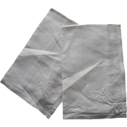 Monogram W Unused 2 Irish Linen Hankies Men's Vintage Original Labels