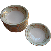 Noritake Alice 12 Fruit Sauce Bowls Vintage China Gold Pale Green White