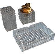 Glass Smoking Set Mid Century Vintage SMC Supreme Lighter Ashtray Cigarette Vase