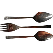 Carlyle Cameo Vintage Stainless Steel Flatware 2 Serving Spoon 1 Fork Spoons