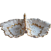 Gold White China Large Double Dish Bowl Vintage Center Handle