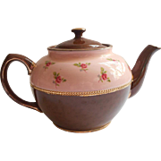 Sadler Teapot Vintage Pink Roses Brown Betty Gold Excellent Condition