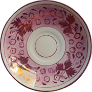 Pink Luster Ware Antique China Saucer Berries Leaves