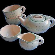 Art Deco Vintage 1937 Tea Set Vintage China Teapot Burleigh Balmoral Green Dots
