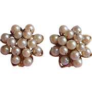 Cultured Pearls Gold Filled Earrings Vintage Cluster H. G.