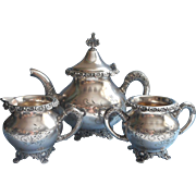 SALE PENDING Victorian Tea Set Silver Ornate Rims Antique 1890s Teapot Creamer Sugar Bowl