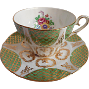 Royal Stafford English Bone China Vintage Cup Saucer Green Gold White