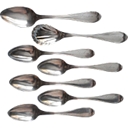 SOLD Set Coin Silver Spoons Palmer Owen Ohio Antique Sugar Shell Spoon Teaspoons Etc