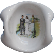 SOLD Bride Groom Vintage Milk Glass Wedding Ring Dish Charming