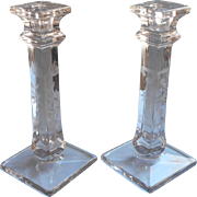SOLD Glass Candlesticks 1920s Vintage Blow Into Mold Engraved